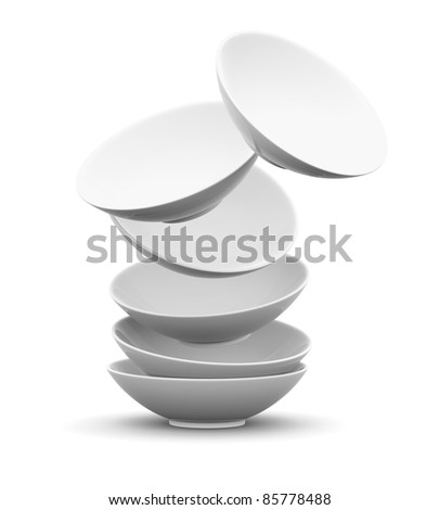 White sphere bowl float and overlay on white background. Isolated 3d model - stock photo