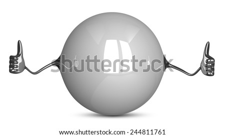 White sphere character giving thumbs up - stock photo