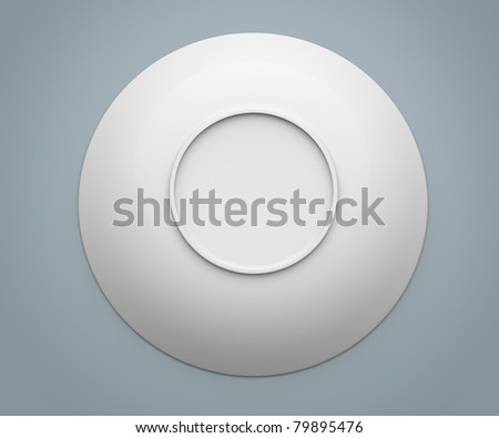 White Sphere Dish plate close on white background. Isolated 3d model - stock photo
