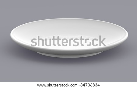 White Sphere Dish plate side view on background. Isolated 3d model - stock photo
