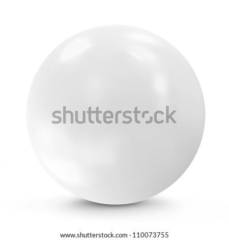 White Sphere isolated on white background - stock photo