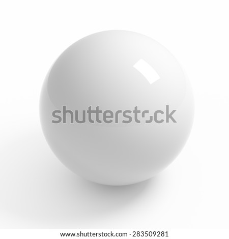 White sphere on white background isolated with clipping path - stock photo