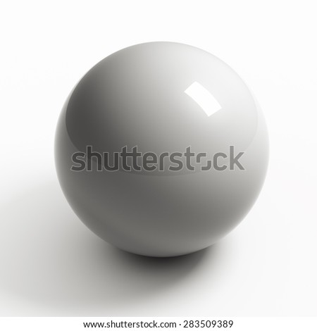 White sphere on white background isolated with clipping path
