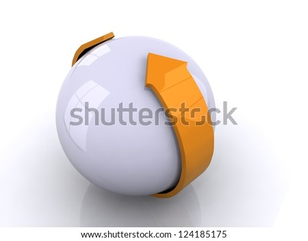 White sphere with orange  arrow