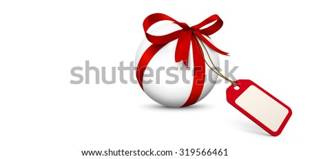 White Sphere with Red Bow and Blank Gift Coupon Panorama - Isolated on White Background with Free Space for Advertising. Price Label, Bonus, Gift Voucher for Holiday Season. Horizontal Website Banner.