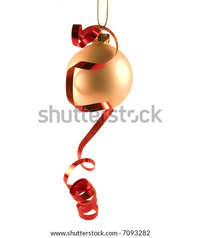 White sphere with red ribbon - stock photo