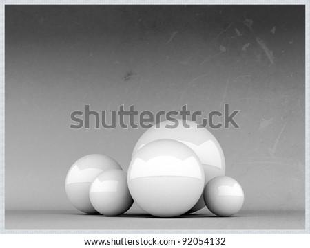 white spheres on grunge photo - stock photo
