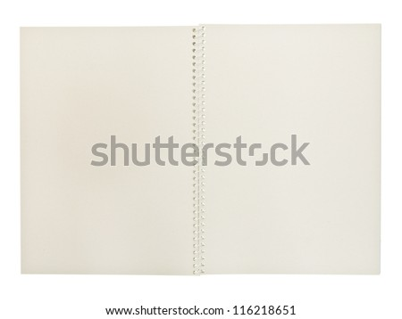 White spiral sketching notebook isolated on white background - stock photo