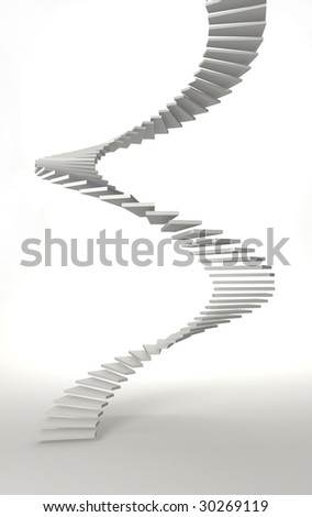 white spiral stair in white room - stock photo