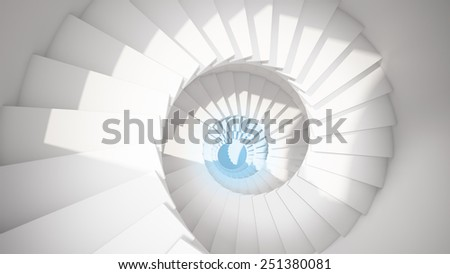 White spiral stairs in sun light and blue center abstract 3d interior - stock photo