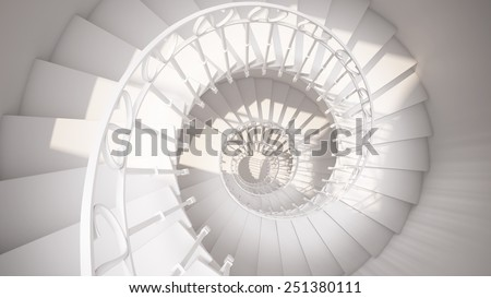White spiral stairs with rails in sun light abstract 3d interior - stock photo