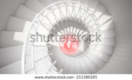 White spiral stairs with rails in sun light and red center abstract 3d interior - stock photo