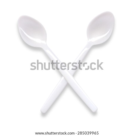 White spoon plastic coffe tea isolated on white - stock photo