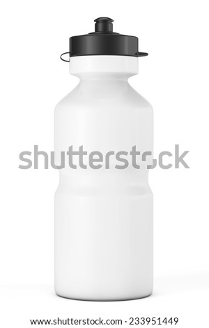 White Sport Plastic Water Bottle on a white background - stock photo