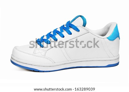 White sport shoe isolated on white background - stock photo
