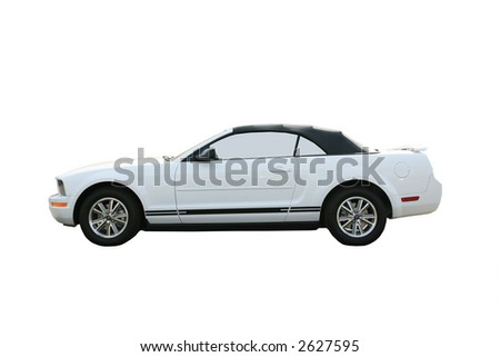 White sports car convertible isolated
