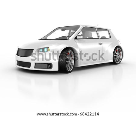 White sports car isolated on white. This is a detailed 3D render.