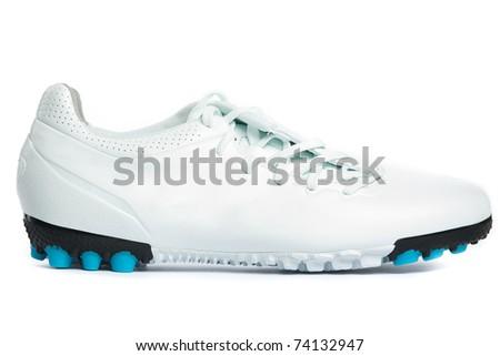 White sports shoes. Closeup. Isolated on white. - stock photo