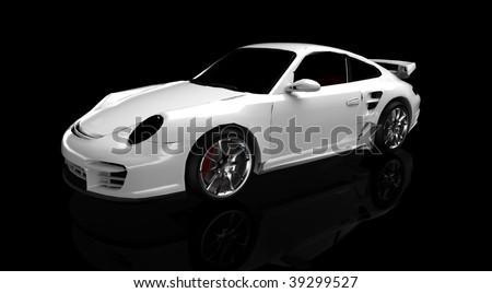 white sportscar - stock photo