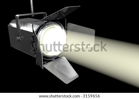 White Spotlight on Black - stock photo