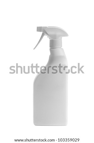 White Spray Bottle Isolated on White - stock photo