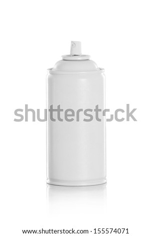 white spray insecticide can isolated on white background - stock photo