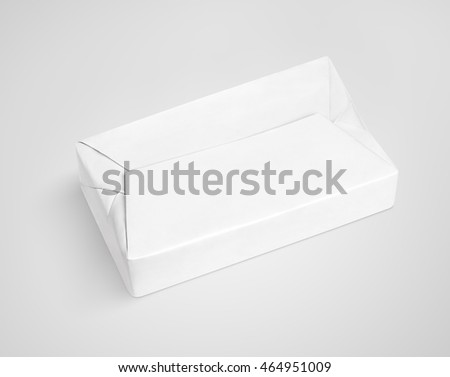 White spread butter wrap box package on gray background with clipping path
