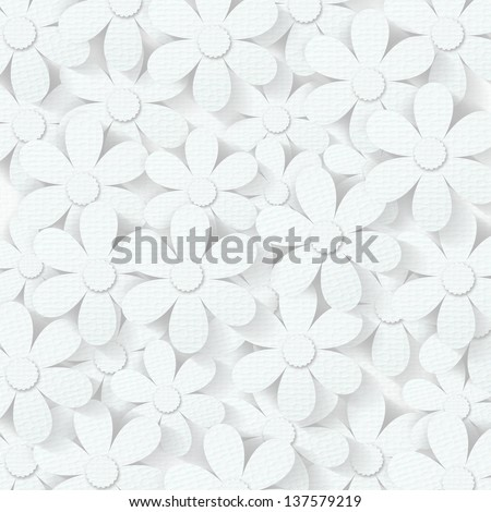 White spring flower paper craft against a white paper texture background - stock photo
