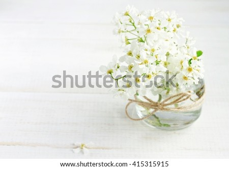 White spring orchard blossom in handmade vase - glass jar with twine ribbon. Soft light, soft focus. Dreamy. - stock photo