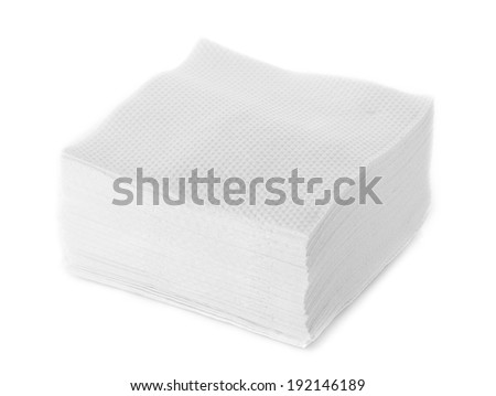 White Square Bar Napkin Isolated - stock photo