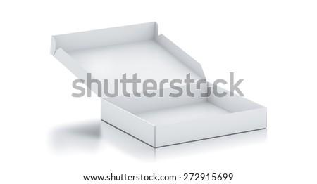 White square box. High resolution 3D rendered illustration. - stock photo