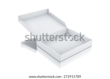 White square box. High resolution 3D rendered illustration. - stock photo