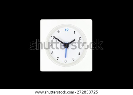White Square clock isolated on Black background. Time One and forty o'clock - stock photo