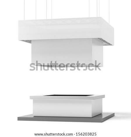 White square exhibition stand - stock photo