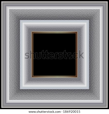 White square frame graceful ornament for photographs and paintings. Raster copy