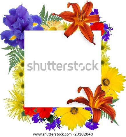 White square, framed by isolated flowers. - stock photo