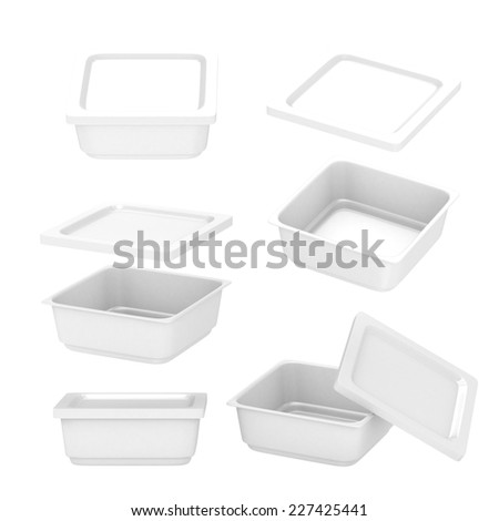 White  square plastic container for food production like fresh food, convenience food or frozen food. Template for  your design or artwork, clipping path included  - stock photo
