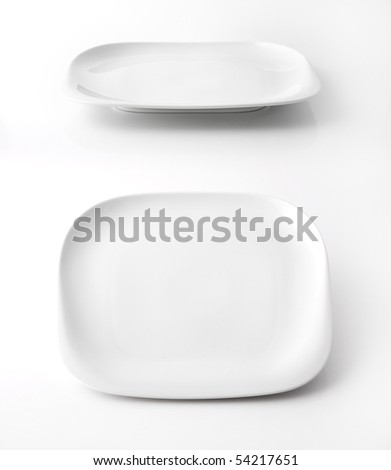 White square plate isolated on white - stock photo