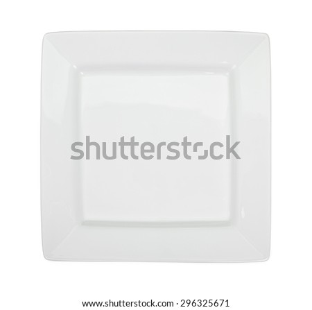 White square plate isolated on white. Top view. - stock photo