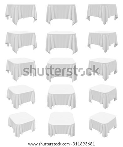 White square rounded tablecloth set isolated on white, 3d illustration - stock photo
