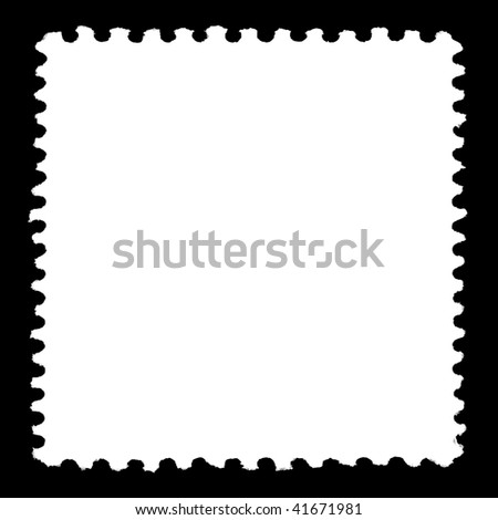 White Square Stamp Template On Black Stock Illustration