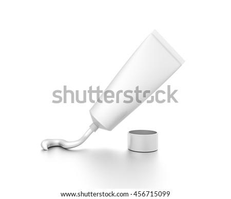 White squeezed cosmetic product cream toothpaste tube from front far angle. 3D illustration isolated on white background. - stock photo
