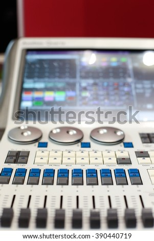 White stage controller panel - close up background