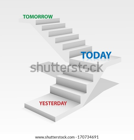 White stair with word tomorrow today and yesterday on white background. - stock photo