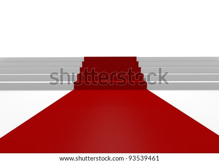 White stairs and red carpet, 3D image - stock photo