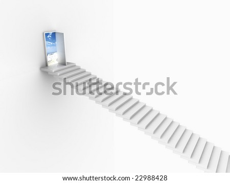 White stairs coming up to an open door in white wall. For other similar images from the series, please, check my portfolio. - stock photo