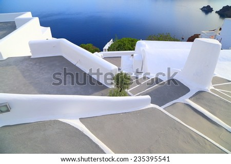 White stairs leading to the sea on the Santorini island, Greece
