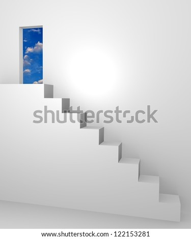 White stairs to an open door, 3d concept - stock photo