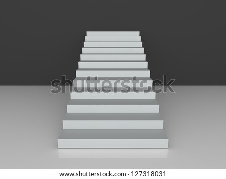 White stairs towards black wall with reflection. - stock photo