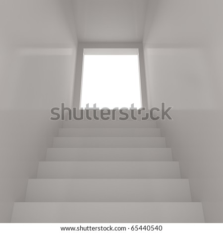 White Stairway Concept - 3d illustration - stock photo